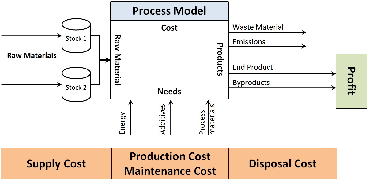 Analysis-Modell for calculation of needs and costs of a biomass power plant based on raw material properties