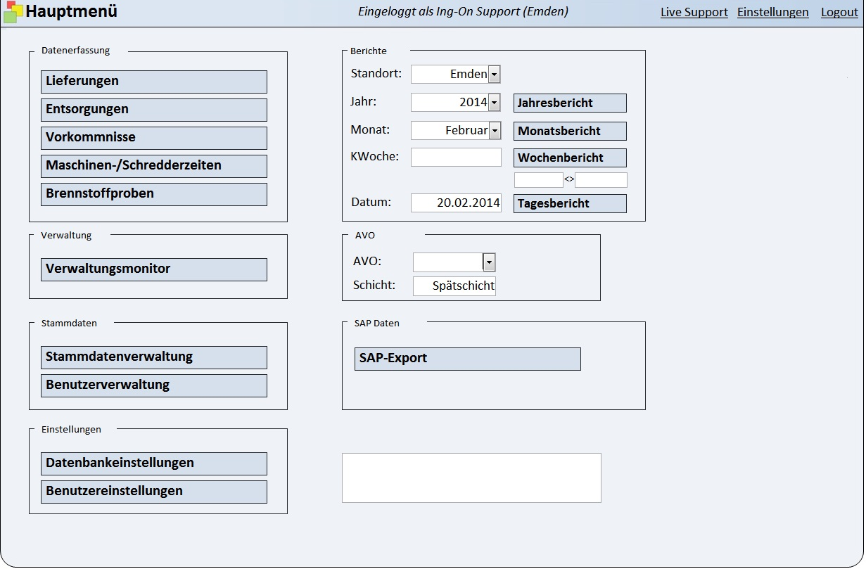 Main menu of a database application for supply and disposal management