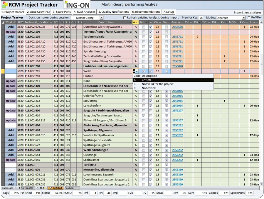 Software especially developed for the data capture and management of RCM-Projects